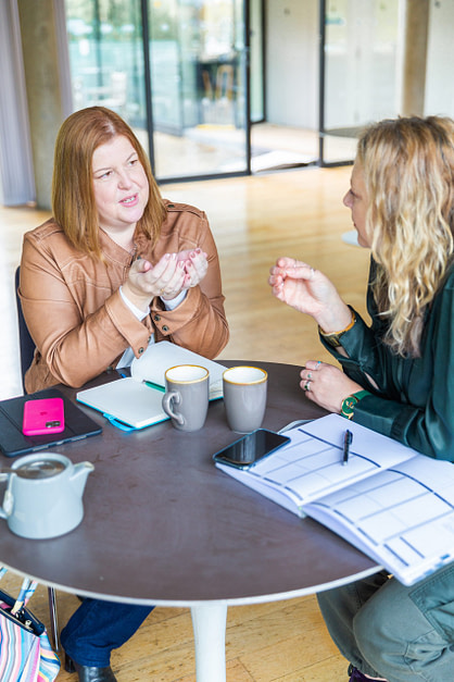 Susanna Reay with client planning next steps